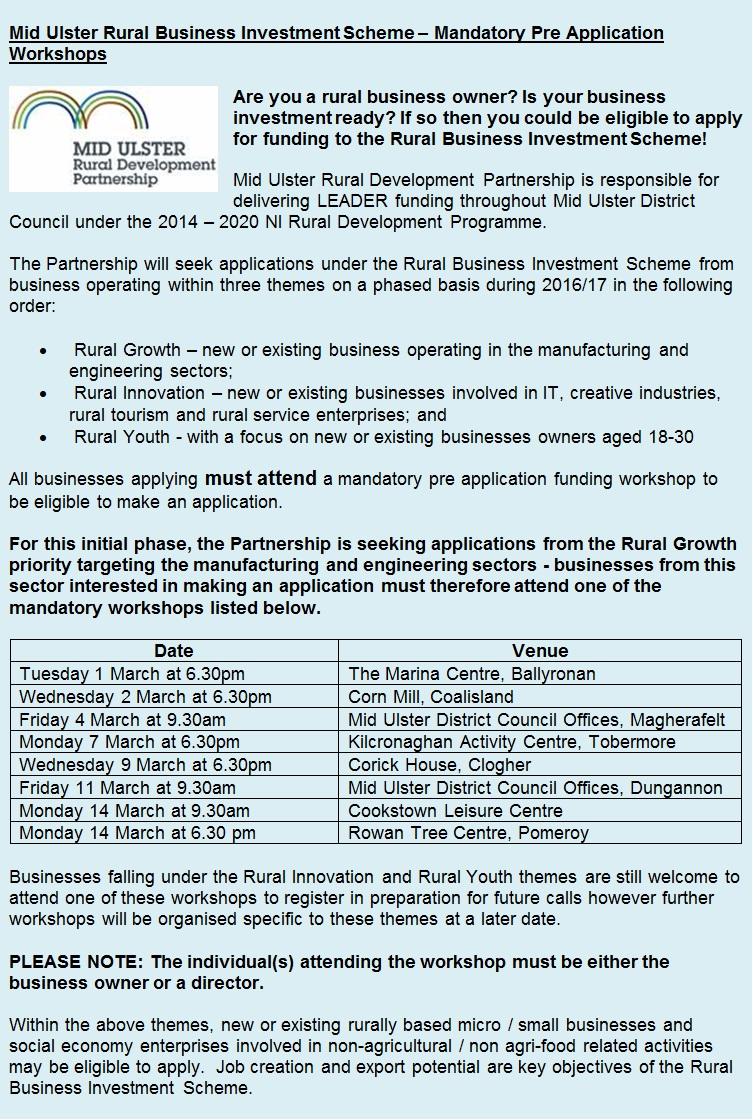 Link to Mid Ulster Rural Development Investment Scheme – Mandatory Pre Application Workshop post